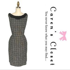 Taylor Embellished Metallic Black Tweed Dress